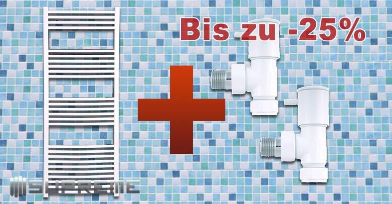 Bis zu 35% Rabatt auf Supreme Gebogene Badheizkörper in weiß mit Ventilen für den Anschluss an die Warmwasser-Zentralheizung