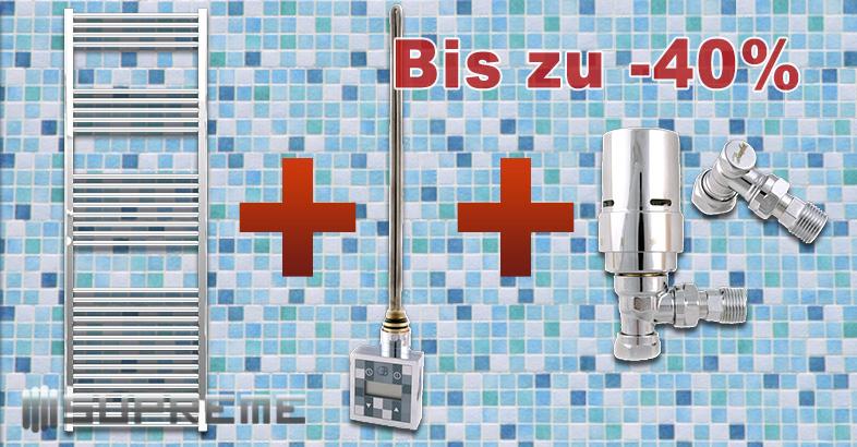 Bis zu 45% Rabatt auf Supreme Gerade Handtuchtrockner in Chrom mit Zubehör für den elektrischen Gebrauch oder Anschluss an die Warmwasser-Zentralheizung